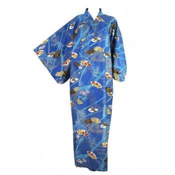 Yukata-kimono bleu royal, en coton
