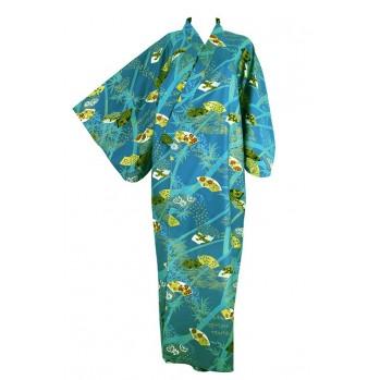 "Yukata-kimono ""vert émeraude"", en coton"