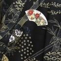 Yukata-kimono éventails noir et or