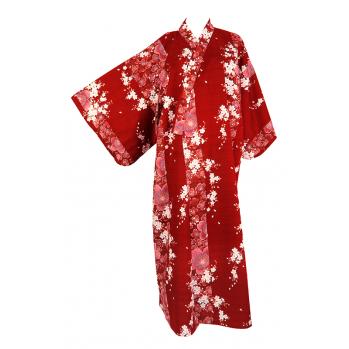 """Yukata """"Fleurs de pruniers"""" rouge"""