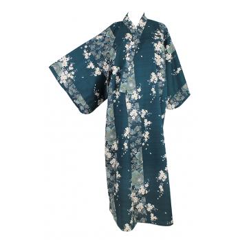 """Yukata """"Fleurs de pruniers"""" vert fôret"""