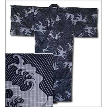 "Yukata indigo ""vagues"" tradition du Japon"