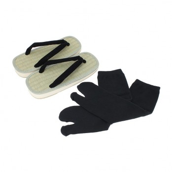 Chaussettes-doigt noires pour sandales-zoris