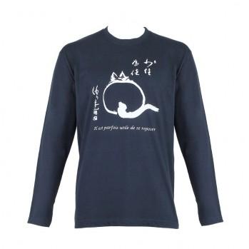 T-shirt chat-zen, modèle feminn, il est parfois utile de se reposer, bleu nuit, manches longues
