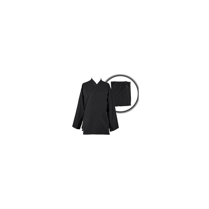 Ensemble Samue coton flanelle noir, veste et pantalon