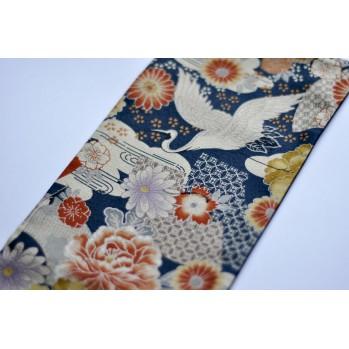 Obi, ceinture, joli accessoire pour votre kimono, grue et fleurs tons bleus