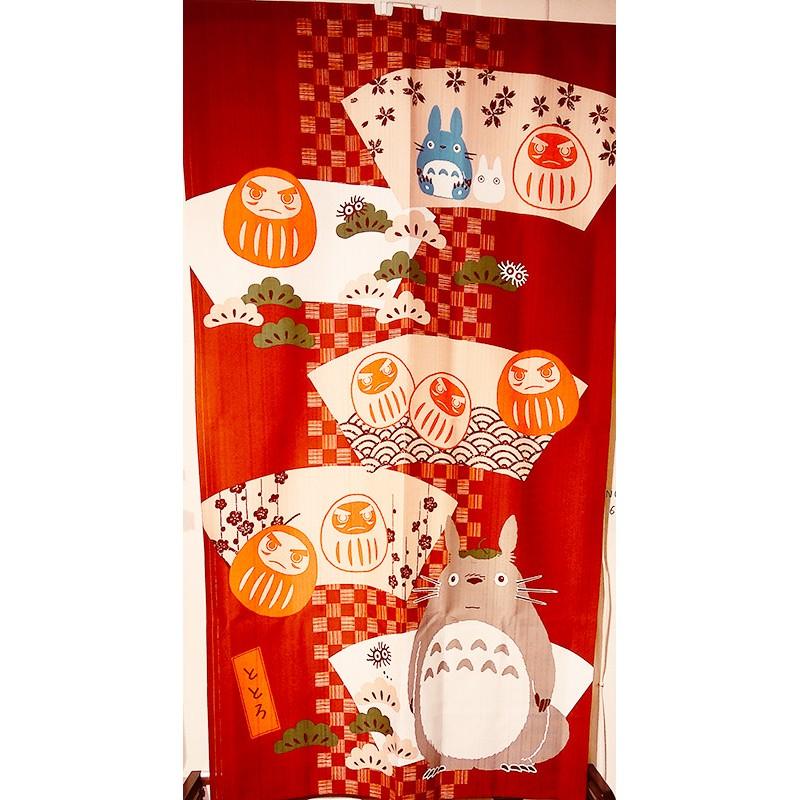 """noren japonais """"totoro et daruma"""", tissu décoratif"""