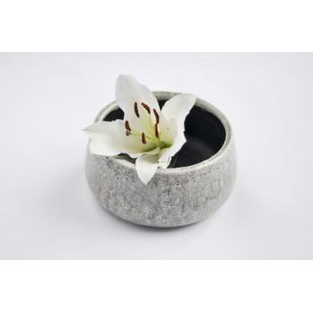 Vase vert-gris craquelé pour ikebana et art floral, modèle moyen