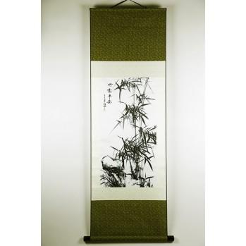 """Sumi-e """"bambous"""" peinture à l'encre de chine sur tissu"""