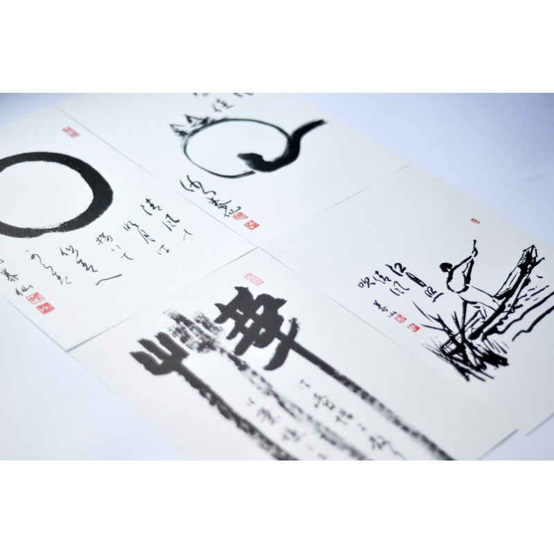 lot de calligraphies sumi-e