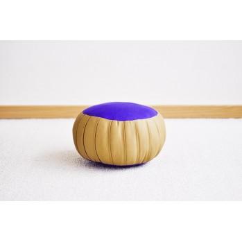 zafu bicolor, coussin de méditation or et violet
