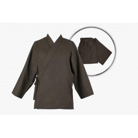 samue veste et pantalon marron coton solide