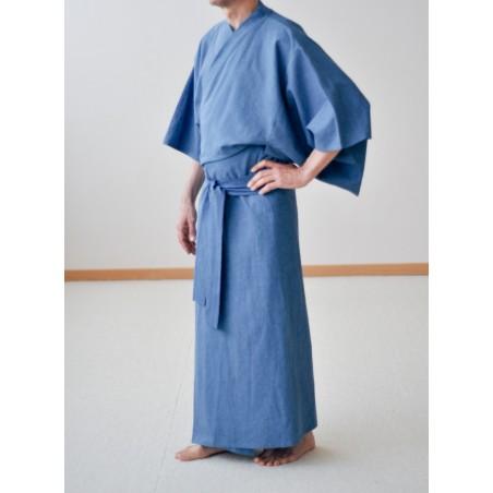 kimono bleu jean homme