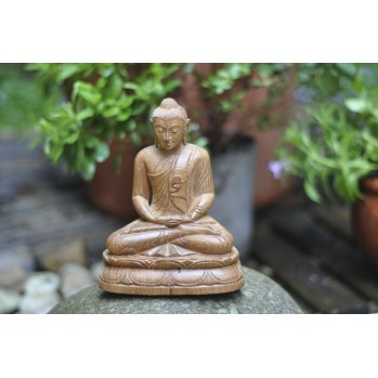 Bouddha méditation 20 cm, pièce unique, bois de powlonia