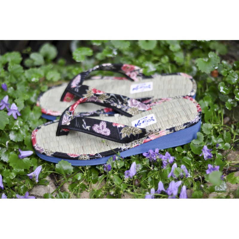 Zori, sandales en paille de riz, fleurs