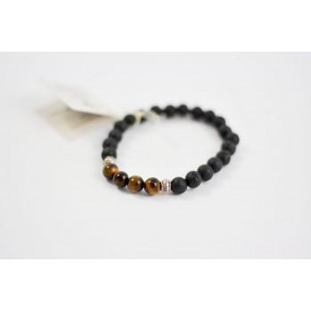 Mala bracelet oeil de tigre bois et pierre de lave