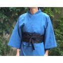 obi noir gris du Japon sur kimono