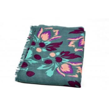 Foulard en laine - fleurs bleu canar
