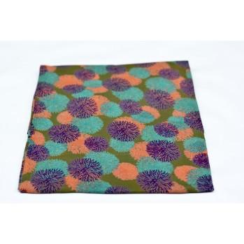 Foulard en coton - fleurs turquoise