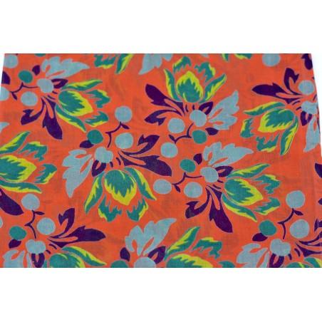 Foulard en coton - fleurs cor