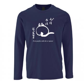 """T-shirt """"chat-zen"""", bleu nuit, manches longues"""