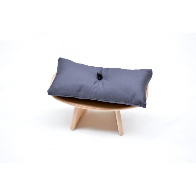 """Banc """"shoggi zen"""" en bois de pin avec coussin gris"""