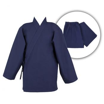Ensemble Samue bleu indigo coton bio, veste et pantalon