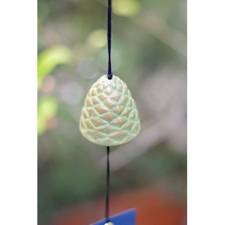 """Clochette à vent en fonte du Japon, """"Pomme de pin"""" vert"""