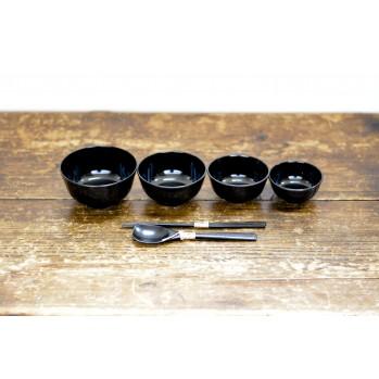 Set de 4 bols avec couverts - repas zen