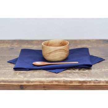 Bol et cuillère en bois d'olivier avec Furoshiki