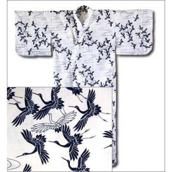 """Yukata-kimono """"Hérons"""" sur fond blanc"""