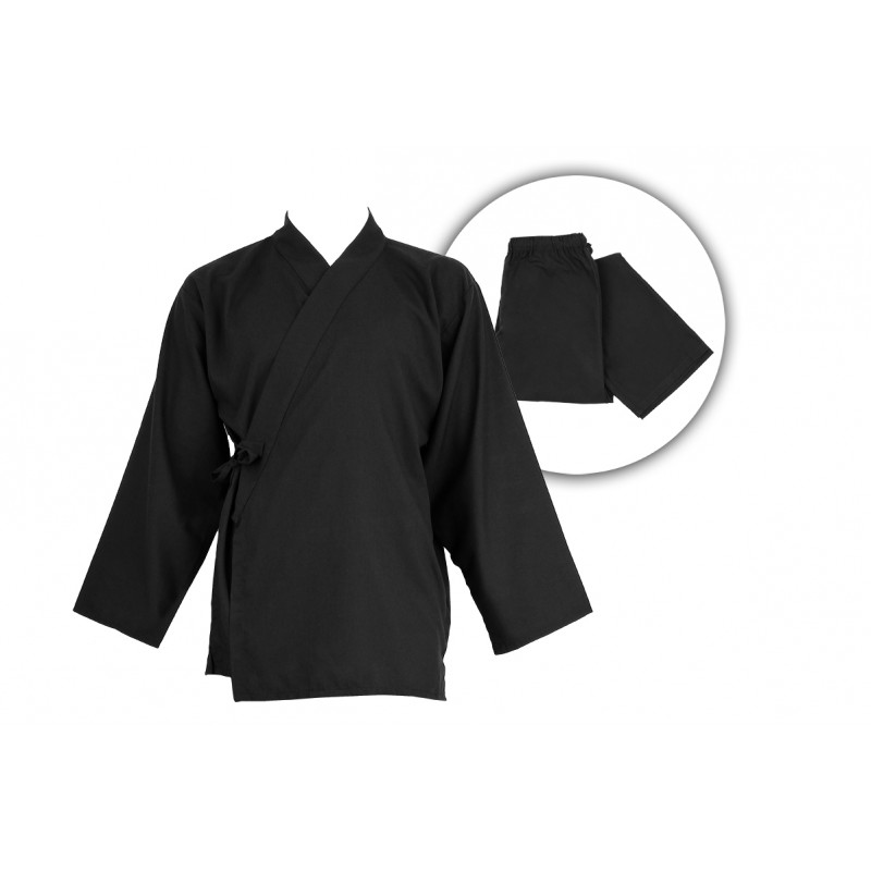 Samu-e tissu fluide, noir, veste et pantalon