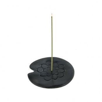 Porte-encens en pierre, Lotus, noir