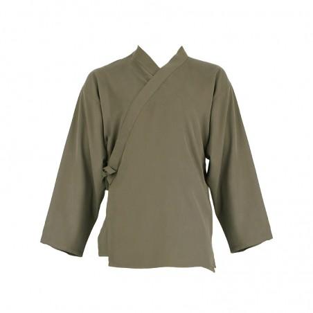 Veste samue fibre d'eucalyptus - brun clair,feuille olivier