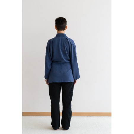 veste samue bleue tissu rami