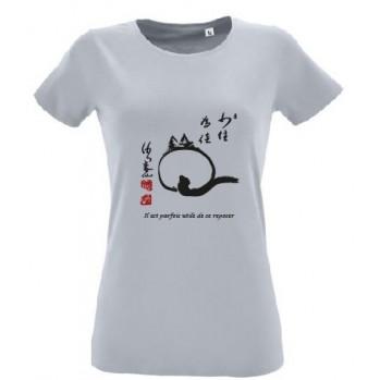 t-shirt blanc bio 'le chat zen'