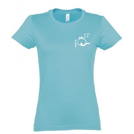 """t-shirt bleu femme bio """"le chat zen"""""""