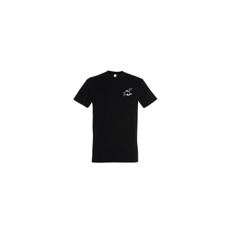 """t-shirt noir unisexe bio """"le chat zen"""""""