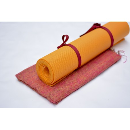 Châle de méditation / Tapis de yoga - orange cornaline