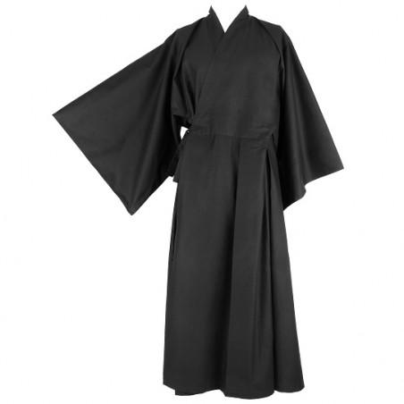 kimono noir long, vêtement pour la méditation zen, zazen
