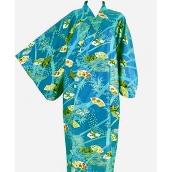 kimono court vert émeraude éventails et or