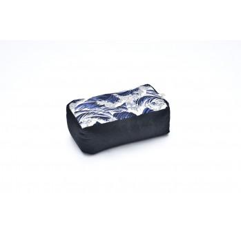 zafu rectangle épeautre vagues de Kanagawa Tissu japonais Imprimés bleu marine