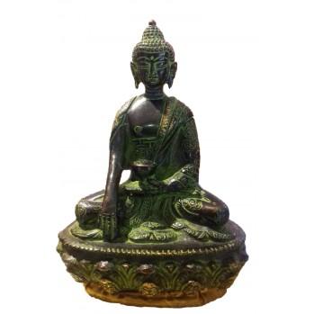 Bouddha noir en fonte, 14 cm