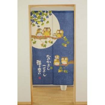 noren chouettes rideau japonais