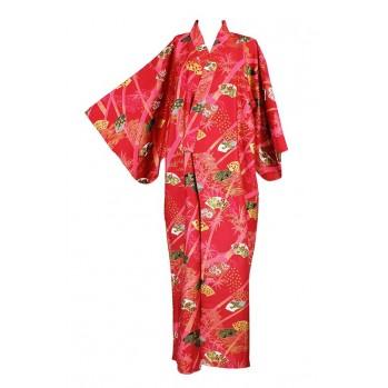 Yukata-kimono rouge-or, en coton