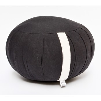 Zafu haut 22 cm kapok, noir, tissu 100 % coton bio
