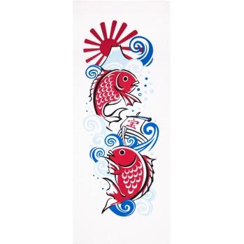 Tenugui, serviette japonaise, poissons porte-bonheur
