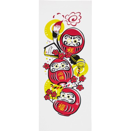Tenugui, serviette japonaise, Darumas porte-bonheur