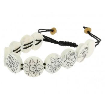 Mala bracelet Os Blanc Huit Symboles de Bon Augure