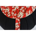 Zafu standard kapok Guirlande de fleurs, noir, tissu japonais
